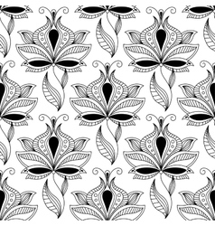 Persian black paisley seamless pattern vector