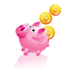piggy bank and falling money vector image