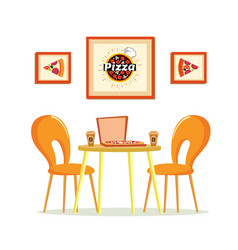 Pizza house pizzeria with table and coffee cups vector
