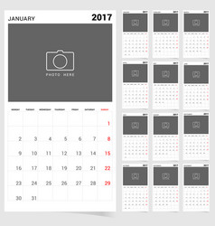 planner calendar january 2017 design vector image