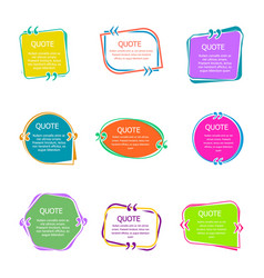 quote boxes with text set color quotes bubble vector image