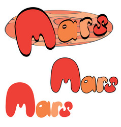 Red planet mars in the space with stars and vector