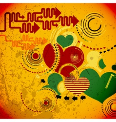 Retro grunge hearts vector image