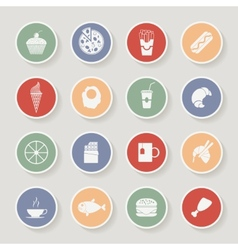 Round Food Icons vector image vector image