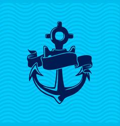 sea anchor and decorative ribbon vector image