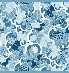 Seamless pattern with abstract curls fruits and vector