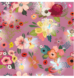 seamless pattern with cartoon fairies vector image