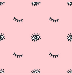 seamless pattern with cartoon hand drawn eyes vector image
