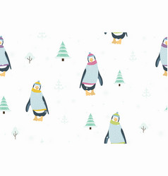 seamless pattern with funny penguin cartoon vector image