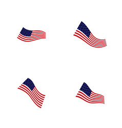 set american flag design template icon symbol vector image