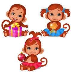 set cute children monkey playing with christmas vector image