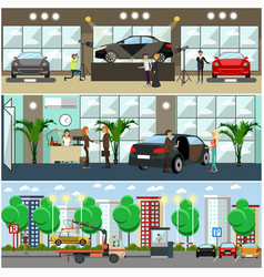 set of cars concept posters banners vector image