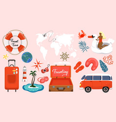 set travel items in coral colors graphics vector image