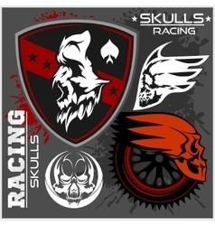 Skulls and car racing symbols vector