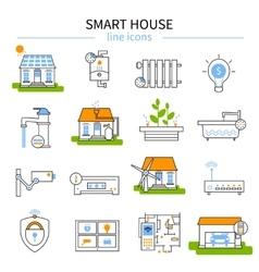 Smart House Line Icon Set vector image
