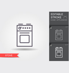 stove line icon with editable stroke with shadow vector image