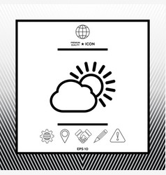 Sun cloud line icon vector