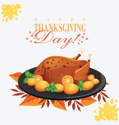 Thanksgiving day chicken turkey on the black plate vector