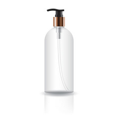 Transparent cosmetic round bottle with pump head vector
