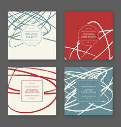 Trendy hand drawn cards vector