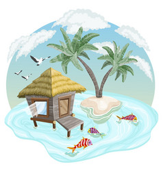 tropical island in the ocean with palm trees vector image