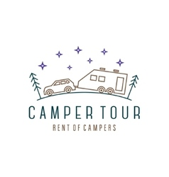 Vehicle with trailer camper in woods at night vector