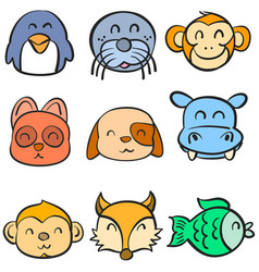 Very cute animal head doodles vector