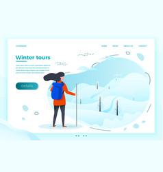 winter tourist girl looking on mountain vector image