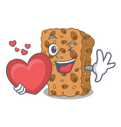 With heart granola bar mascot cartoon vector