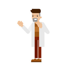 young scientist in white coat icon vector image vector image