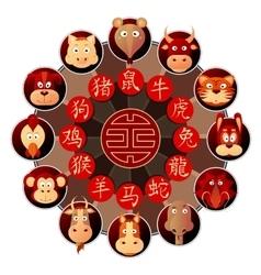 Chinese zodiac wheel with cartoon animals vector image