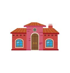 colorful mexican house mexico city facade cartoon vector image vector image