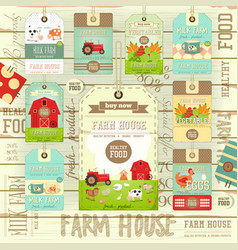 farm price tag label collection vector image vector image