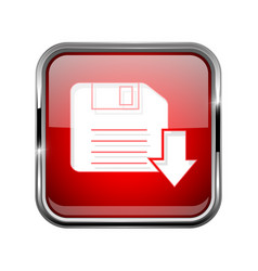 save or download icon square red 3d icon with vector image