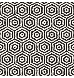 Seamless Hand Painted Concentric Hexagon vector image