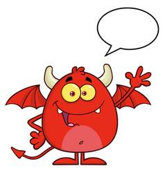 smiling red devil cartoon character waving vector image