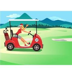 Woman driving a golf cart vector
