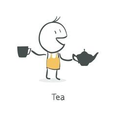 guy drinks tea vector image vector image