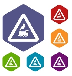 Railway crossing without barrier icons set vector