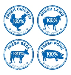 Set of fresh meat stamps vector image vector image