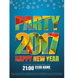 Blue poster design for New Years party in 2017 vector image