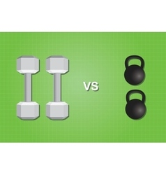 dumbell vs versus kettlebell compare comparing vector image vector image