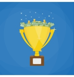 Golden winners trophy full of Dollars vector image vector image