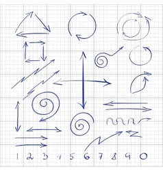 hand drawn signs arrows and numbers for web vector image