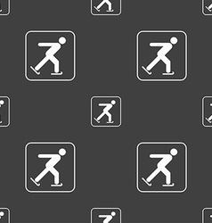 Ice skating sign Seamless pattern on a gray vector image vector image