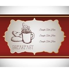 hand drawing breakfast coffee bread food retro vector image