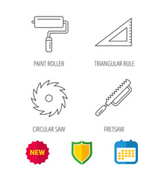 Triangular rule paint roller and fretsaw icons vector