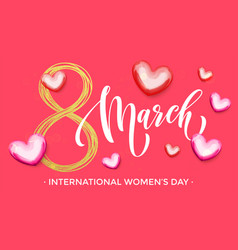 8 march women day gold glitter heart greeting card vector image