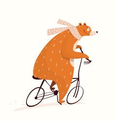 Adorable circus bear cycling riding bicycle vector
