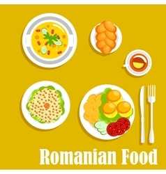 Authentic vegetarian dinner of romanian cuisine vector